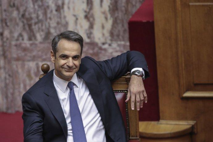 Nový grécky premiér Kyriakos Mitsotakis počas zasadania parlamentu. Foto - AP