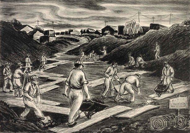 """""""Road Builders,"""" litografia na papiery, od David P. Chun (1898-1989), vytvorený keď pôsobil vo WPA's Federal Art Project, ca. 1935-1943. Obrázok v the Smithsonian American Art Museum"""