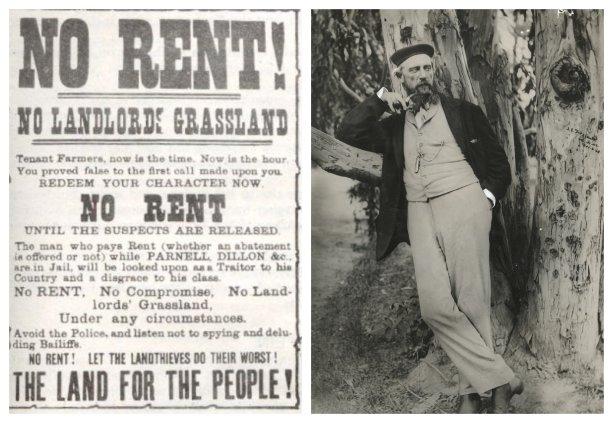 Plagát Írskej pozemkovej únie (Irish Land League) okolo 1880 a James FitzGerald (1818–1896) oblečený v smoking jacket v roku1868