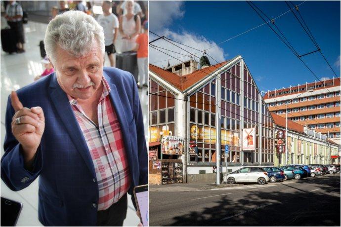 Politik Peter Marček a budovy Mamuta a starej sladovne. Foto N – Tomáš Benedikovič