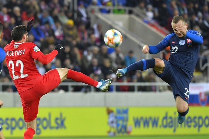 Lobotka počas zápasu s Azerbajdžanom. Foto - TASR