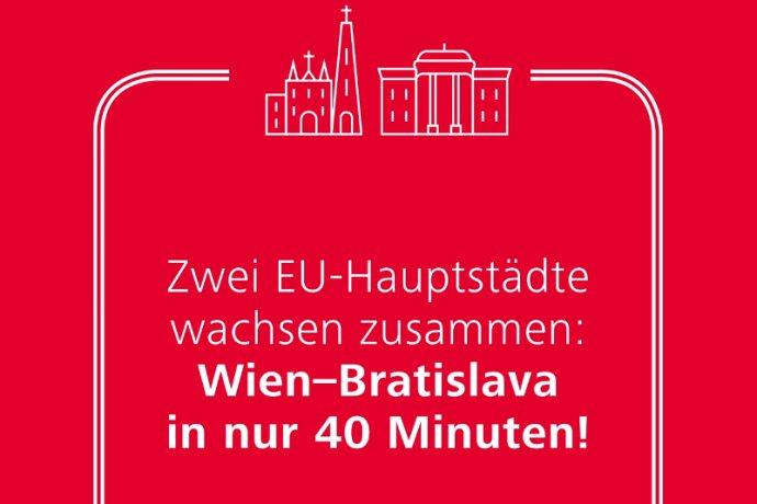Rakúske železnice si sponzorujú reklamy, v ktorých sľubujú rýchlu cestu do Bratislavy už od roku 2023. Reprofoto - ÖBB
