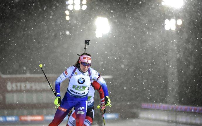 Paulína Fialková počas zmiešanej štafety. Foto - TASR/AP