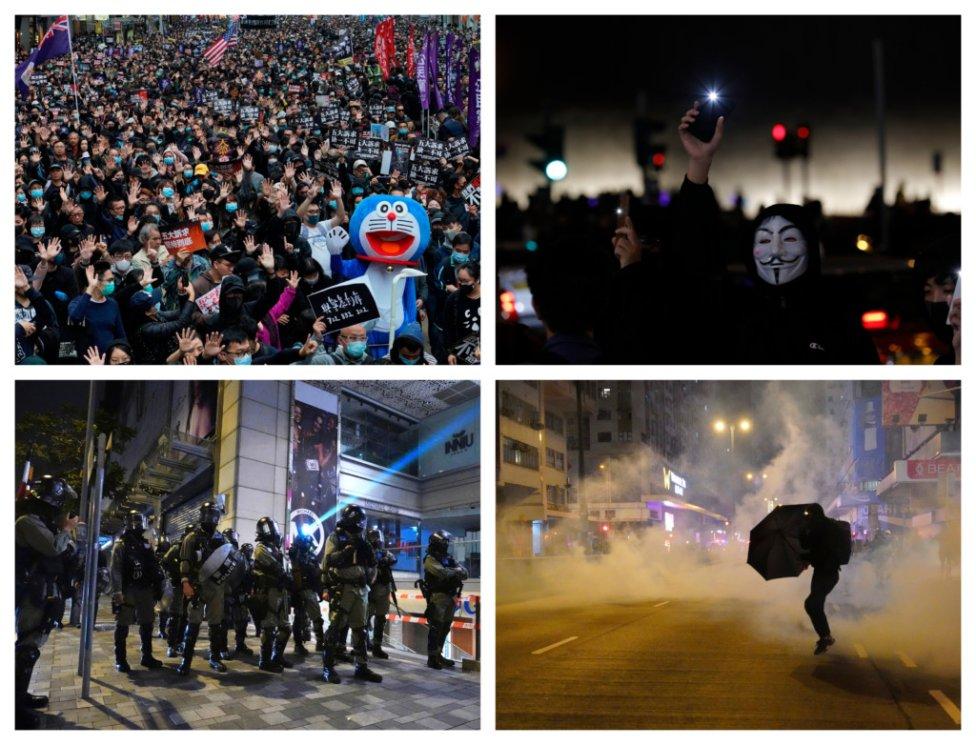 Boj za demokraciu v Honkongu pokračuje aj v roku 2020. Foto - TASR/AP