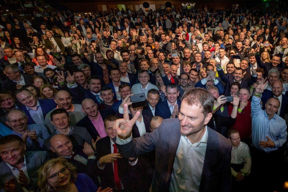 Volebná noc OĽaNO vo februári 2020. Foto N – Tomáš Benedikovič