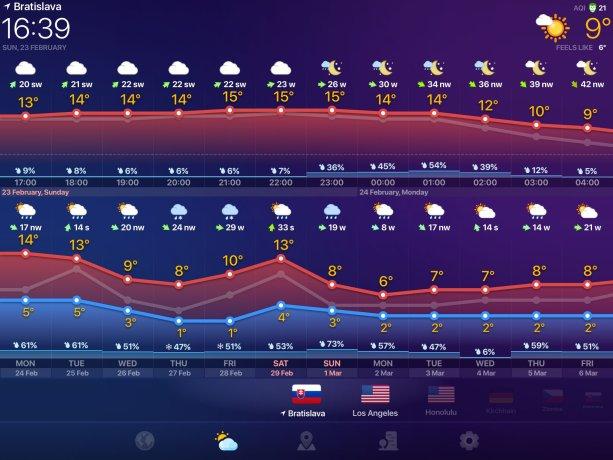Snímka obrazovky z apky Weather Now
