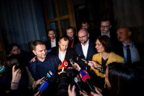 Oznámenie o zložení koalície 13. marca 2020. Foto N – Vladimír Šimíček