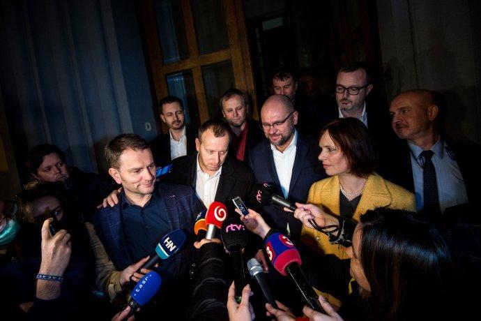 Oznámenie o zložení koalície 13. marca 2020. Foto N - Vladimír Šimíček