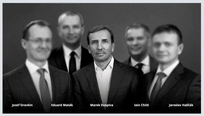 Partneri z Penty, v strede je Marek Dospiva. Reprofoto – pentainvestments.com, úprava – Denník N