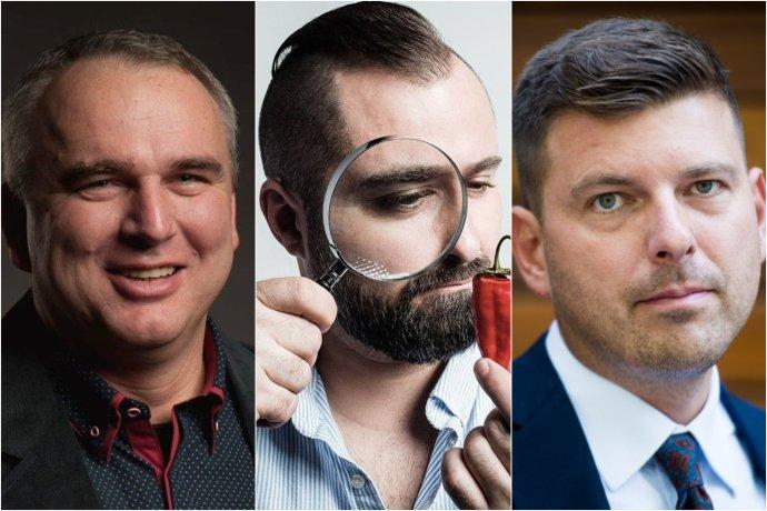 Jozef Lukáč, Patrick Linhart, Martin Borguľa. Foto - Fotomontáž, zdroj: FB kandidátov a Denník N