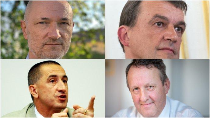 Kandidáti na predsedu Špecializovaného trestného súdu: Ján Buvala (vľavo hore), Ján Hrubala (vpravo hore), Igor Králik (vľavo dole) a Michal Truban (vpravo dole). Foto - TASR, Denník N