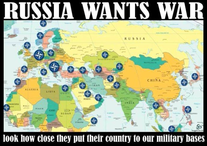Obľúbený hoax hovorí o tom, že NATO údajne obkľúčilo Rusko svojimi základňami. Realita? NATO ani USA nemajú základne v Kazachstane, Kirgizsku ani v niektorých ďalších krajinách, ktoré sú na mape vyznačené. Naopak, v Kazachstane, Kirgizsku či Arménsku má základne Rusko.