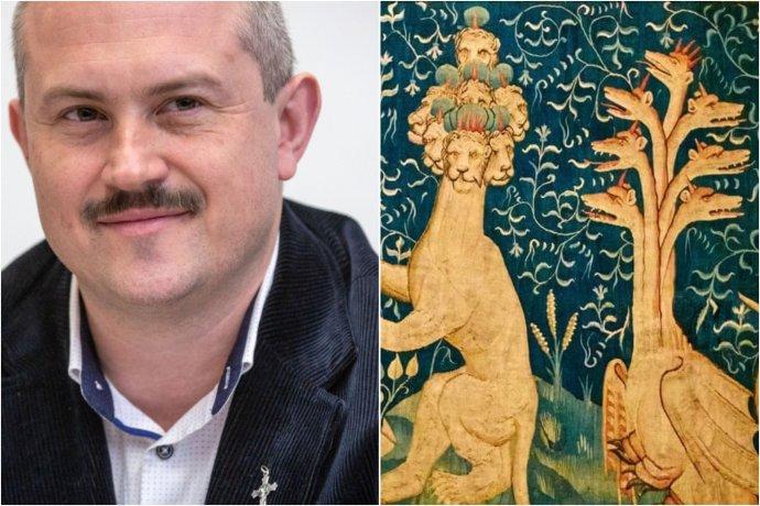 Kotleba odporúča ľuďom čítať Zjavenie Jána, ktoré podľa neho predpovedá mikročipy. Vpravo je výsek tapisérie z francúzskeho zámku Angers s cyklom biblických výjavov apokalypsy.