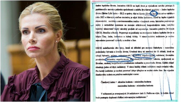 Petra Krištúfková a jej bakalárska práca. Foto - TASR, reprofoto - Miroslav Beblavý