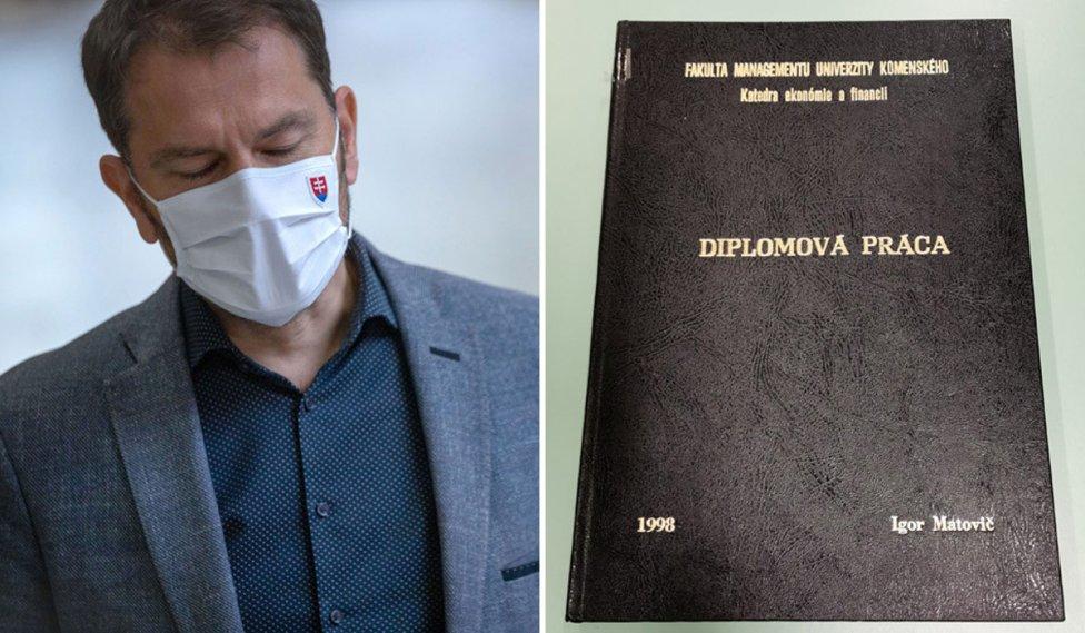 Premiér Igor Matovič a jeho diplomová práca. Foto N - Tomáš Benedikovič