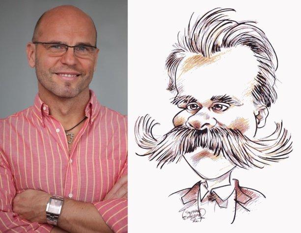 Čo by už len mohli mať spoločné Igor Bukovský a Friedrich Nietzsche? Foto/karikatúra – Facebook I. B.; eugeniohansenofs/Pixabay