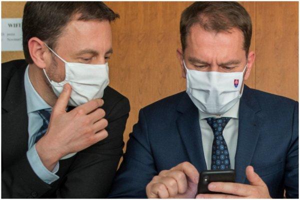 Minister financií Eduard Heger a premiér Igor Matovič. Foto - TASR