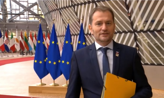 Premiér Igor Matovič na samite EÚ. Reprofoto - N