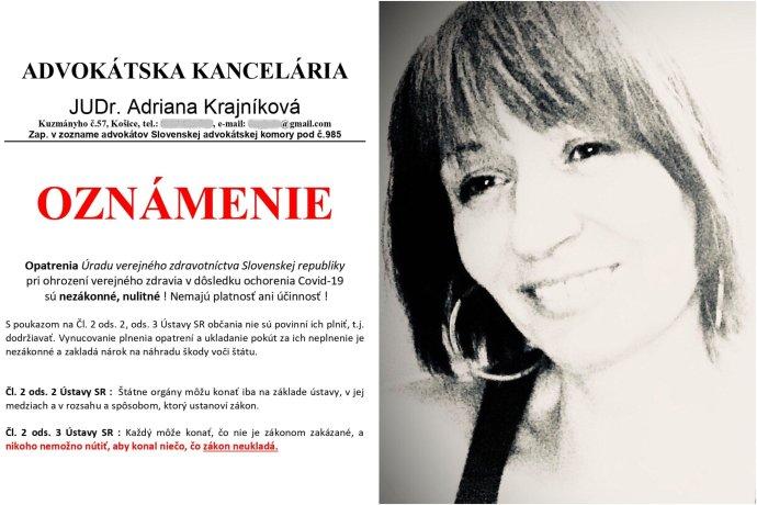 Hviezda sociálnych sietí Adriana Krajníková už viac nemôže zastupovať klientov. Foto - Facebook/Adriana Krajníková