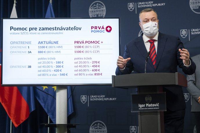 Minister práce Milan Krajniak (Sme rodina) počas predstavovania Prvej pomoci +. Foto – TASR