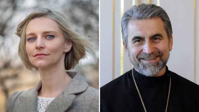 Martina O'Connor a gréckokatolícky biskup Milan Chautur. Foto - N/TASR