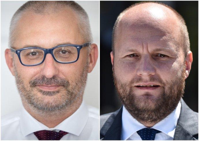 Koaličný poslanec a primátor Hlohovca Miroslav Kollár a minister obrany Jaroslav Naď. Foto – N a TASR