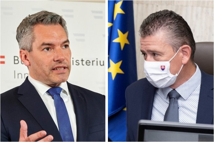 Minister vnútra Nehammer a šéfovia bezpečnostných zložiek kritizovali spoluprácu so Slovákmi. Rezort Romana Mikulca sa ohradil. Foto - Facebook/K. Nehammer/BMI Karl Schober a TASR