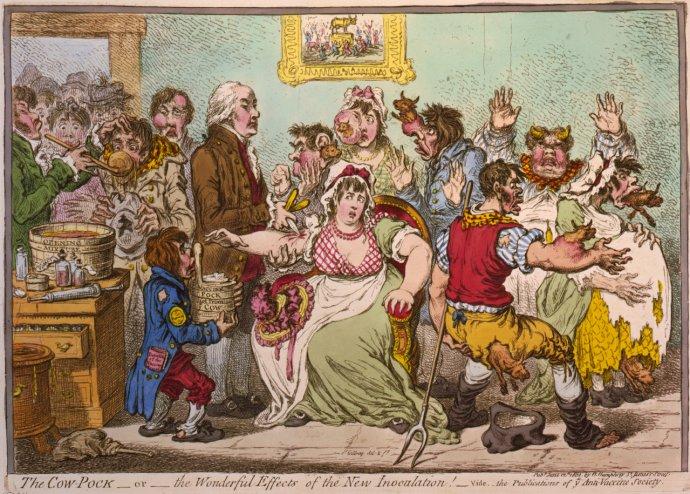 Dobová protivakcinačná karikatúra. Znázorňovala, ako ľudia po očkovaní matériou z kravských kiahní dostanú kravské črty. Zdroj - Beata Ricziová