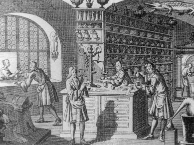 Lekáreň v 18. storočí. Zdroj – Vladimír Leksa-Pichanič: Vzdelaní príbuzní(2013)