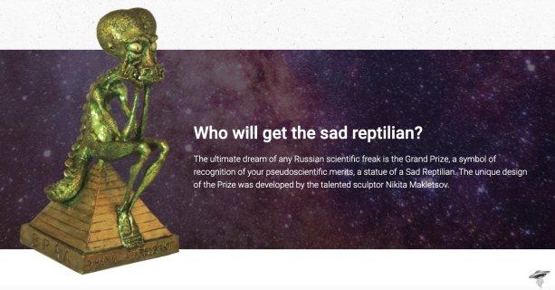 Soška Smutného Reptiliána, ktorú ruskí vedci udeľujú ako satirickú cenu za pseudovedu. Zdroj: https://vral.li/