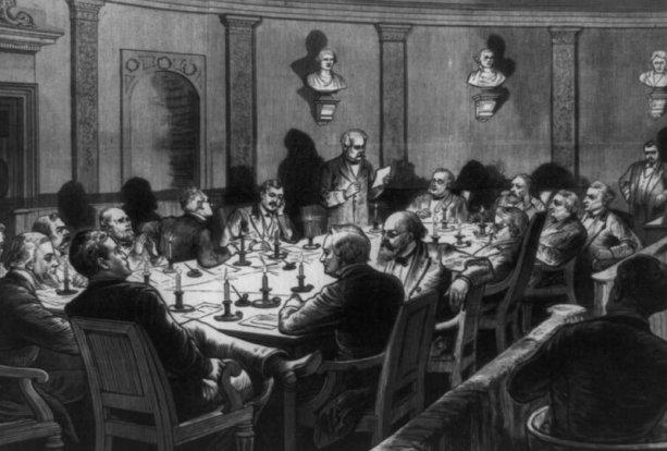 Tajné stretnutie Volebnej komisie v budove Najvyššieho súdu vo februári 1877. Ilustrácia: Kongresová knižnica