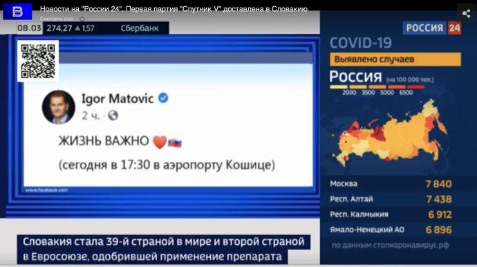 Matovičov status v ruskej televízii v azbuke, hoci v origináli ho písal v slovenčine. Foto - Rossija 24
