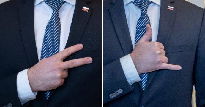 Matovičove gestá, ktoré ukazoval popri čakaní na stretnutie s prezidentkou. Foto - TASR a Denník N
