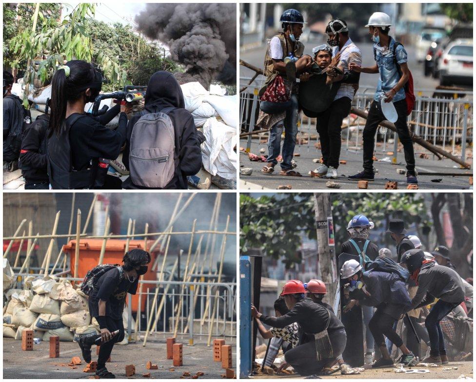 Niektorí demonštranti si proti armáde berú podomácky vyrobené zbrane, ako praky, molotovove koktejly či vzduchové pištole. Foto - Myanmar Pressphoto Agency (MPA)