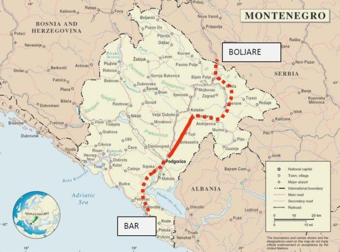 Mapa diaľnice Bar - Boljare v Čiernej Hore. Tento rok by mali dostavať prvý úsek (červená čiara). Zdroj - geodata.it