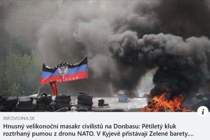 Aj článok z webu dezinformačného rádia Infovojna prebral verziu kremeľskej propagandy.