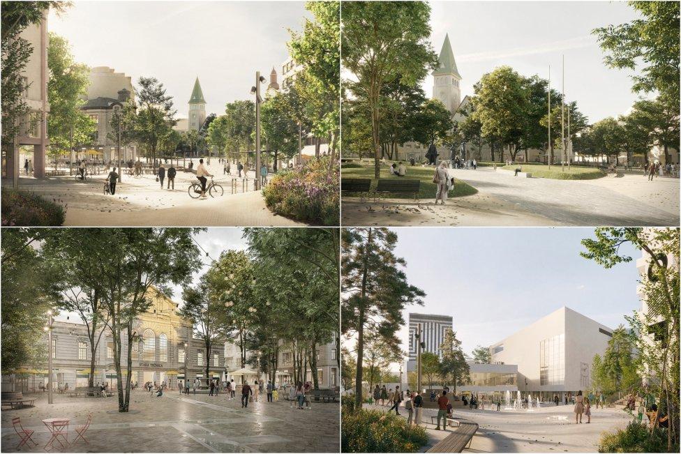 Koláž vizualizácii k projektu Živé námestie. Zdroj - magistrát hl. mesta