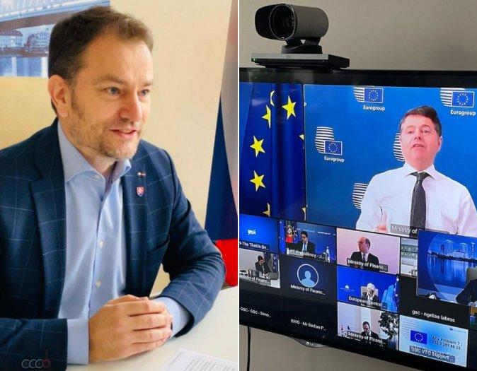 Minister financií Igor Matovič na online rokovaní ECOFIN-u. Foto - Facebook MF SR