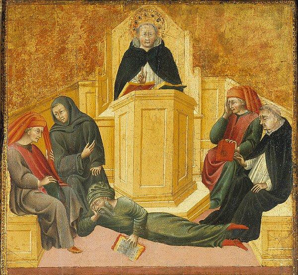 Giovanni di Paolo: Sv. Tomáš Akvinský privádza Averroa do pomykova (cca. 1445-1450). Zdroj: commons.wikimedia.org