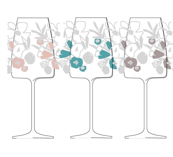 Pohár na víno s kvetinovým motívom, návrh a realizácia. Foto - Slovenské múzeum dizajnu