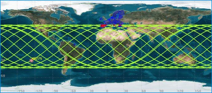 Raketa môže spadnúť do tejto oblasti, červenou sú miesta v Európe. Zdroj - www.eusst.eu