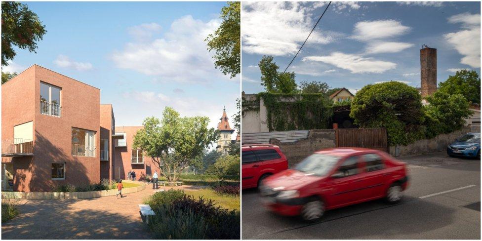 Zrušený projekt bývania pre seniorov a čo je na mieste dnes. Foto N – Tomáš Benedikovič, Vizualizácia – MIB