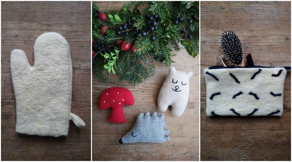 Z vlny sa dajú vyrobiť hračky, kozmetická taštička aj rukavica na pečenie. Foto – Lívia Rášová