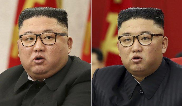 Chudnúci Kim Čong-un na fotkách z februára a júna tohto roku. Foto – TASR/AP