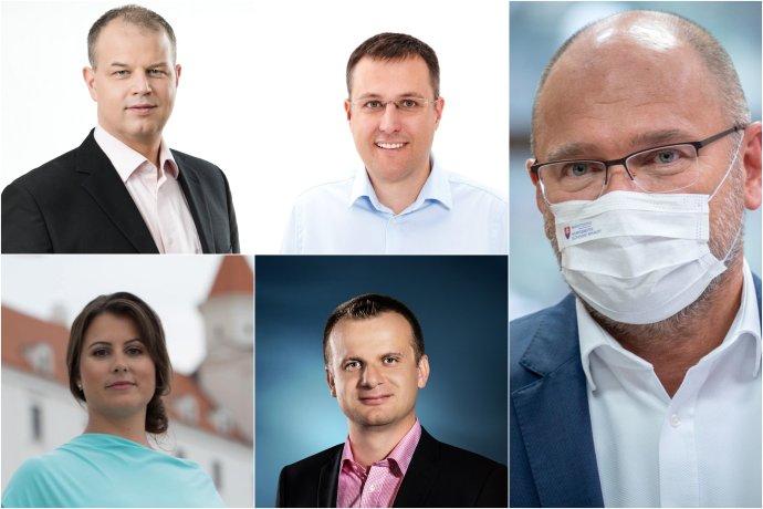 Rastislav Tešovič, Radoslav Olekšák, Soňa Svoreňová, Tomáš Korček a minister hospodárstva Richard Sulík. Foto – Facebook bratislavských poslancov a N