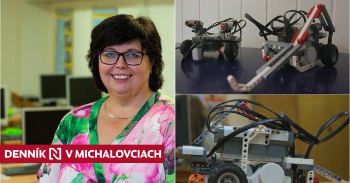 Mária Spišáková a lego roboty. Zdroj - Nadácia Dionýza Ilkoviča