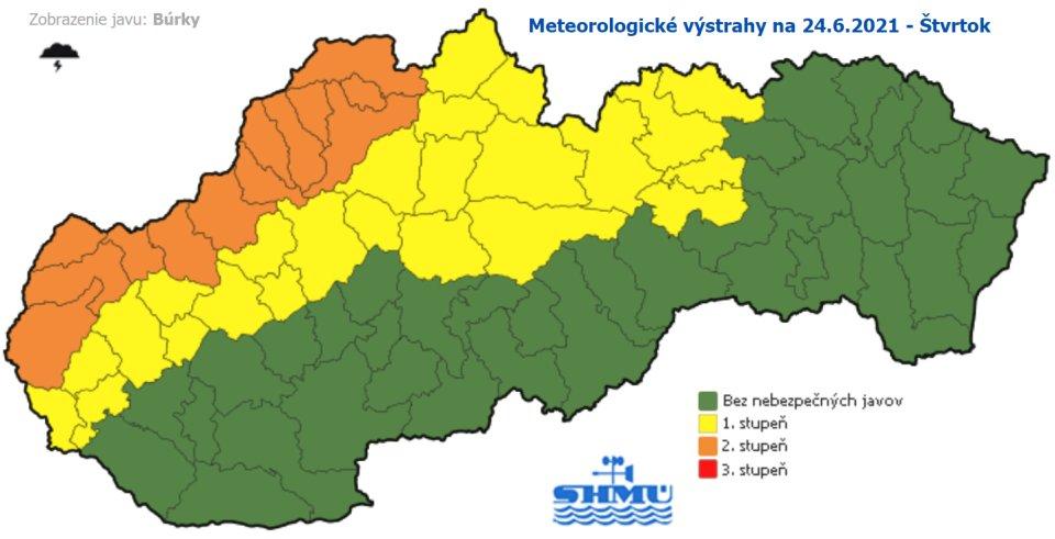 Výstrahy pred búrkami. Zdroj - SHMÚ