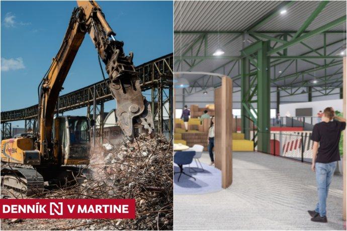 V širšom centre Martina prebieha kompletná renovácia výrobných hál po zaniknutých ZŤS. Foto - Denník N. Vizualizácia - Martinus/Rudohradsky