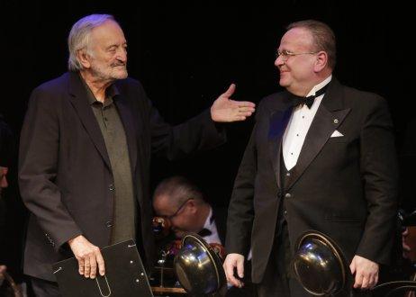 Milan Lasica a Juraj Bartoš na svojom poslednom spoločnom koncerte, 18. júla 2021. Foto – Ctibor Bachratý