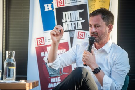 Eduard Heger na diskusii Denníka N v Prievidzi. Foto N – Tomáš Hrivňák
